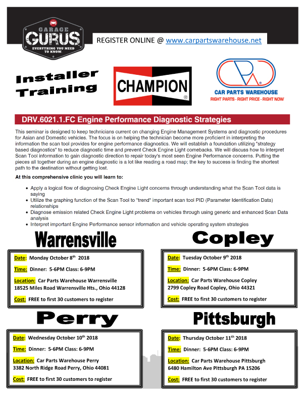 October Training 4 Locations Car Parts Warehouse
